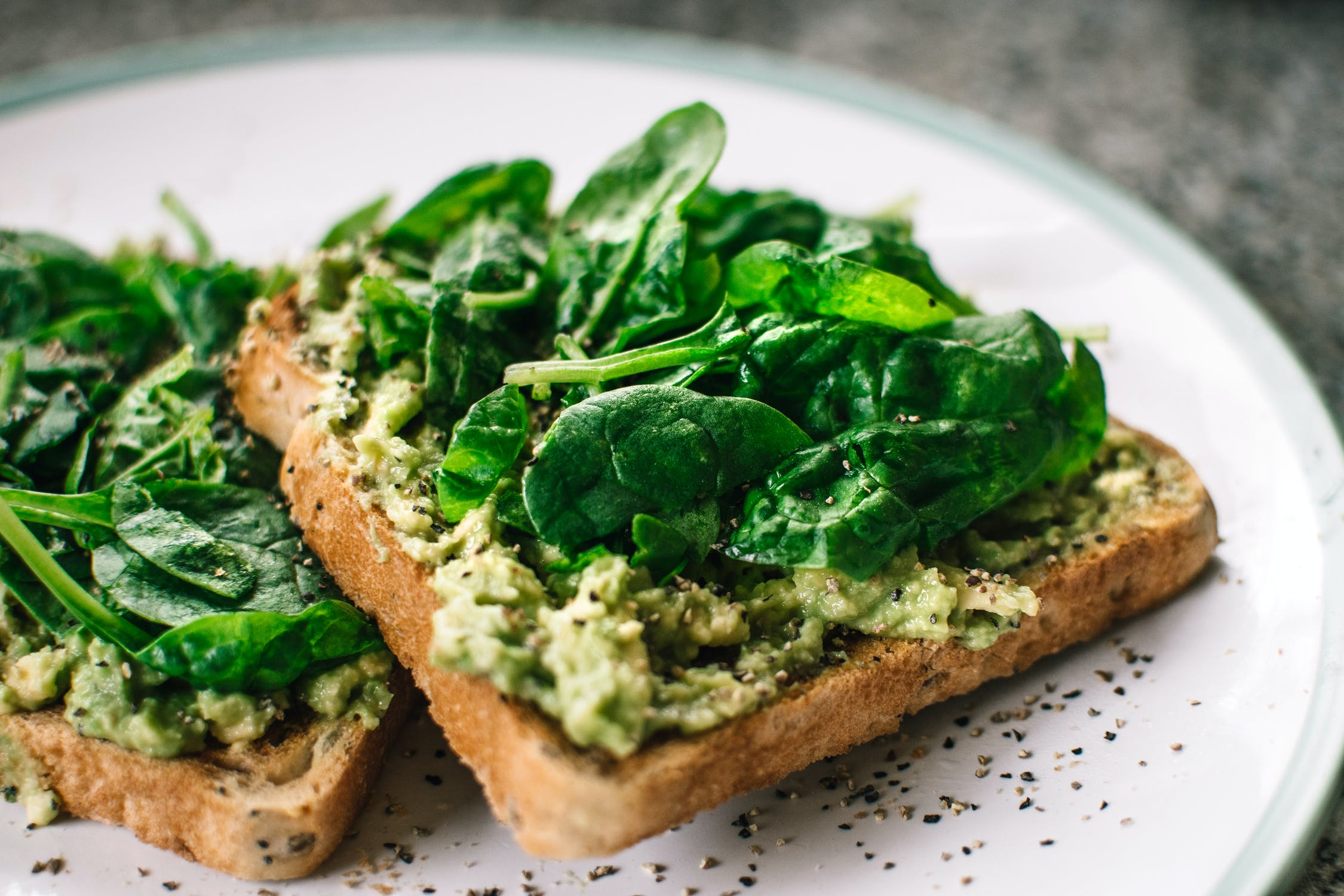 Avocado Toast with spinach on top